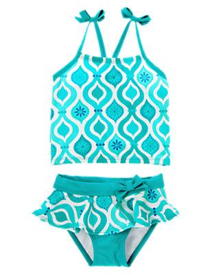 Aqua Blue Mosaic Bow Mosaic Print Tankini by Gymboree