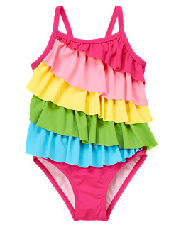 Rainbow Ruffle One-Piece Swimsuit