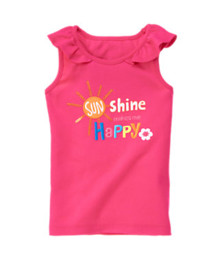 Zinnia Pink Sequin Sunshine Ruffle Tank Top by Gymboree