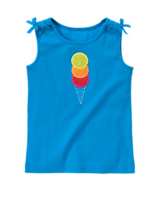 Lagoon Blue Sequin Ice Cream Bow Tank Top by Gymboree