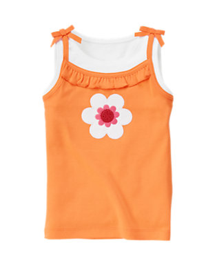 Sunny Orange Sequin Flower Layered Tank Top by Gymboree