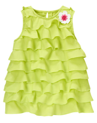 Green Limeade Sequin Flower Ruffle Top by Gymboree