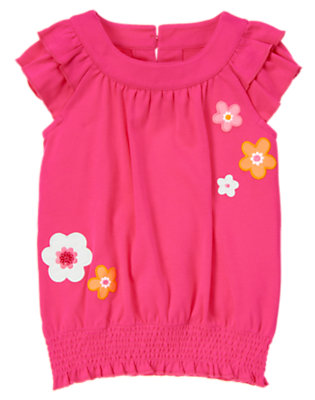 Zinnia Pink Sequin Flower Ruffle Top by Gymboree
