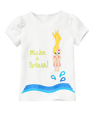 White Sequin Make A Splash Tee by Gymboree
