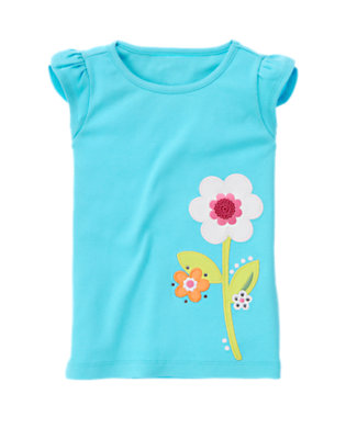 Seal Blue Gem Sequin Flower Tee by Gymboree