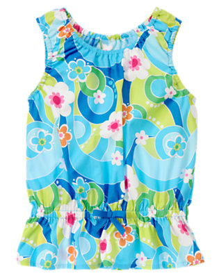 Sky Blue Flower Swirl Bow Flower Swirl Top by Gymboree