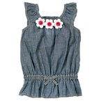 Sequin Flower Chambray Top