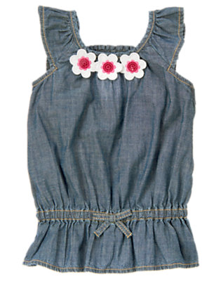 Girls Chambray Sequin Flower Chambray Top by Gymboree