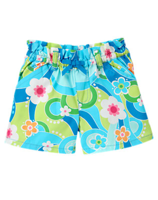 Girls Sky Blue Flower Swirl Bow Flower Swirl Short by Gymboree