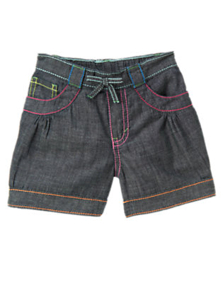 Chambray Rainbow Stitch Chambray Short by Gymboree