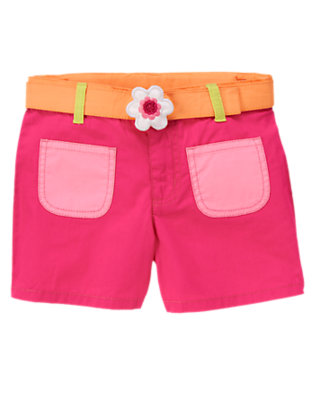 Girls Zinnia Pink Sequin Flower Belted Colorblock Short by Gymboree