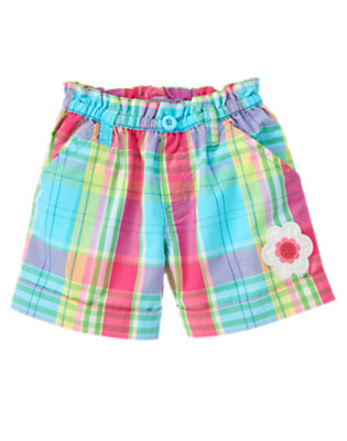 Girls Seal Blue Plaid Sequin Flower Plaid Cuff Short by Gymboree