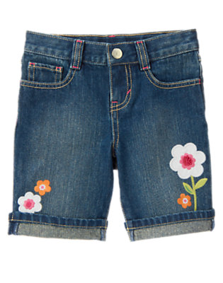 Girls Denim Sequin Flower Bermuda Jean Short by Gymboree