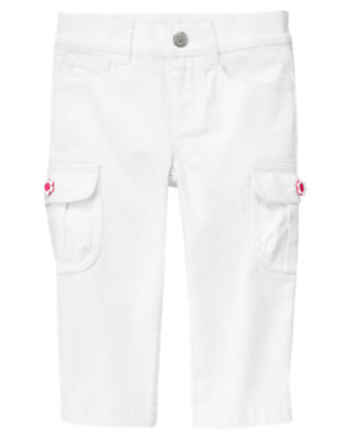 Girls White Flower Button Cargo Capri Pant by Gymboree