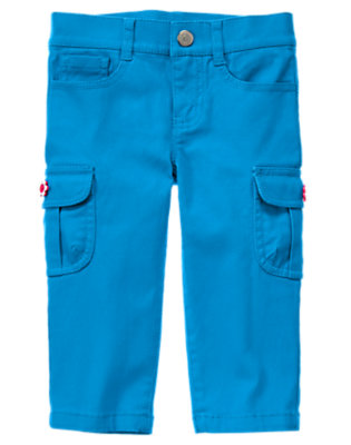 Lagoon Blue Flower Button Cargo Capri Pant by Gymboree