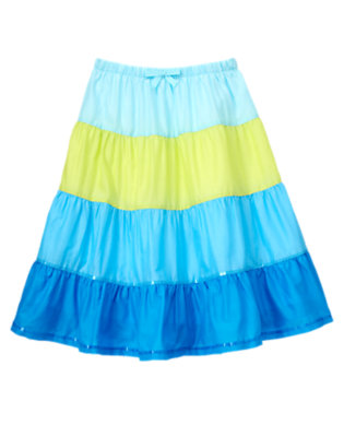 Girls Lagoon Blue Sequin Colorblock Tiered Skirt by Gymboree