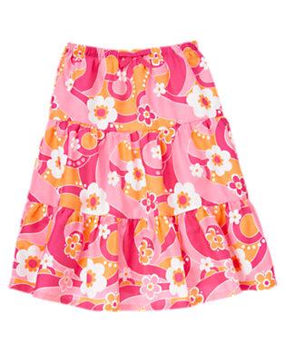 Girls Zinnia Pink Flower Swirl Flower Swirl Tiered Skirt by Gymboree