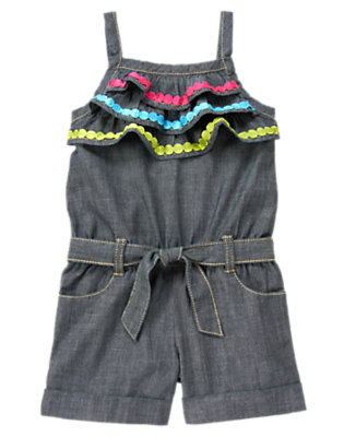 Girls Chambray Dot Trim Chambray Romper by Gymboree