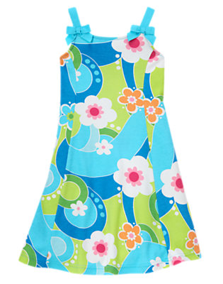 Girls Sky Blue Flower Swirl Bow Flower Swirl Dress by Gymboree