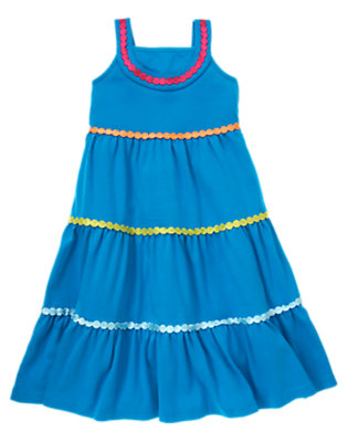 Girls Lagoon Blue Dot Trim Tiered Dress by Gymboree