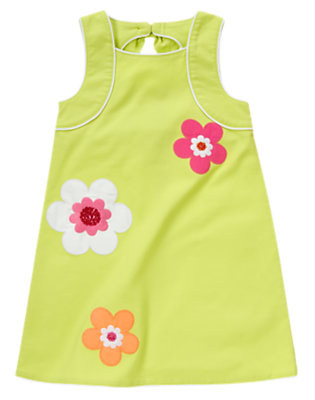 Girls Green Limeade Sequin Flower Pique Dress by Gymboree