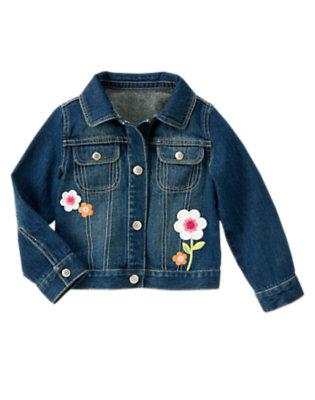 Girls Denim Sequin Flower Jean Jacket by Gymboree