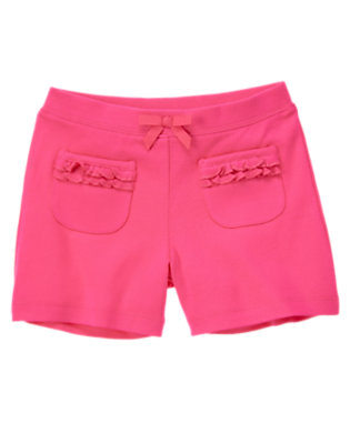 Girls Zinnia Pink Ruffle Pocket Short by Gymboree