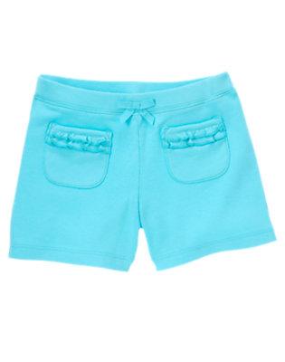 Girls Seal Blue Ruffle Pocket Short by Gymboree