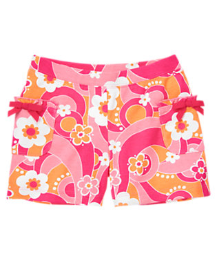 Girls Zinnia Pink Flower Swirl Flower Swirl Bow Pocket Short by Gymboree