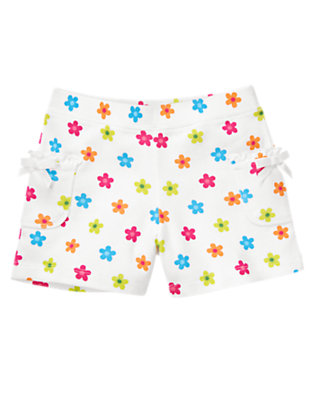 Girls White Mini Flower Mini Flower Bow Pocket Short by Gymboree