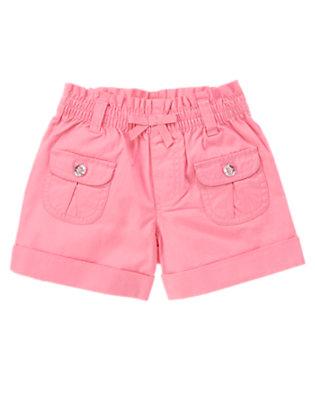 Girls Sunny Pink Gem Button Pocket Short by Gymboree