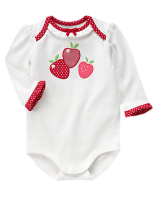 Baby White Strawberry Ruffle Bodysuit by Gymboree