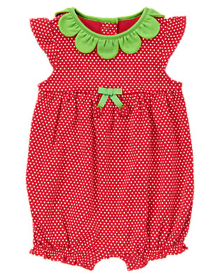 Baby Red Polka Dots Sweet Strawberry One-Piece by Gymboree