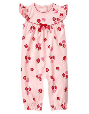 Baby Pink Berries Red Ribbon One-Piece by Gymboree