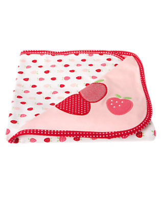 Baby Pink Berries Strawberry Reversible Blanket by Gymboree