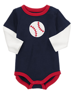 Baby Navy Baseballs Baseball Baby Bodysuit by Gymboree