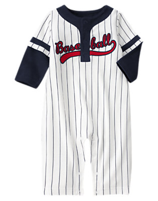 Baby Navy Blue Pin Stripes All-Star Striped One-Piece by Gymboree