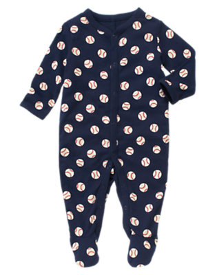 Baby Navy Baseballs Play Ball Footed One-Piece by Gymboree