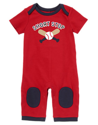 Baby Red Baseballs Short Stop Bodysuit by Gymboree