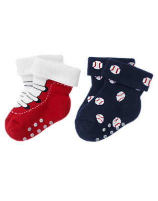 Baby Navy Baseballs Play Ball Socks Two-Pack by Gymboree