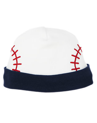 Baby Navy Baseballs Baseball Beanie by Gymboree