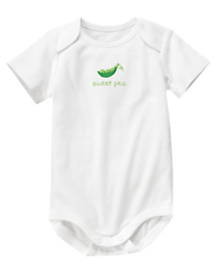 Baby White Sweet Pea Bodysuit by Gymboree