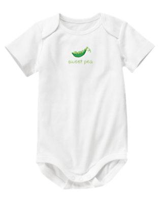 Baby White Sweet Pea Bodysuit by Gymboree