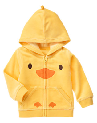 Baby Yellow Duck Velour Hoodie by Gymboree