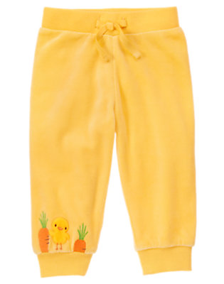 Baby Yellow Duck Velour Pant by Gymboree