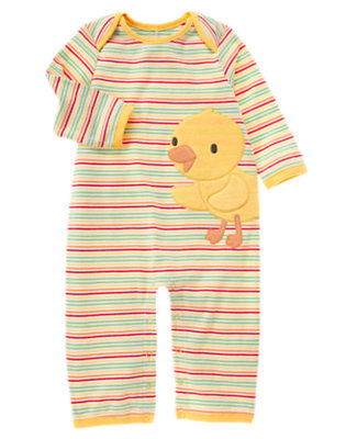 Yellow Duck Stripe One-Piece by Gymboree