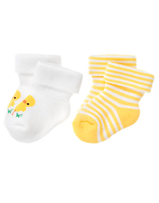 White/Yellow Duck Stripe Sock Two-Pack by Gymboree