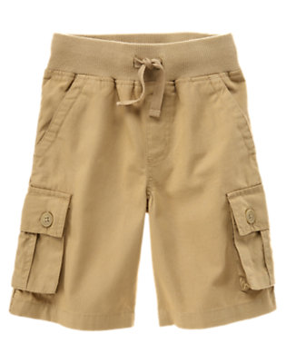 Boys Khaki Drawstring Canvas Cargo Short by Gymboree