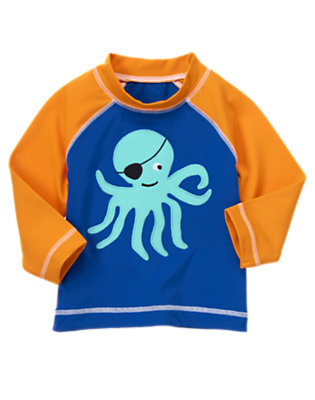 Toddler Boys Deep Blue Octopus Pirate Rash Guard by Gymboree