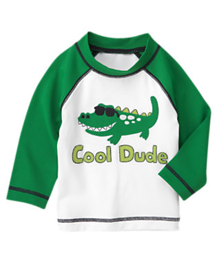 White Alligator Rash Guard by Gymboree